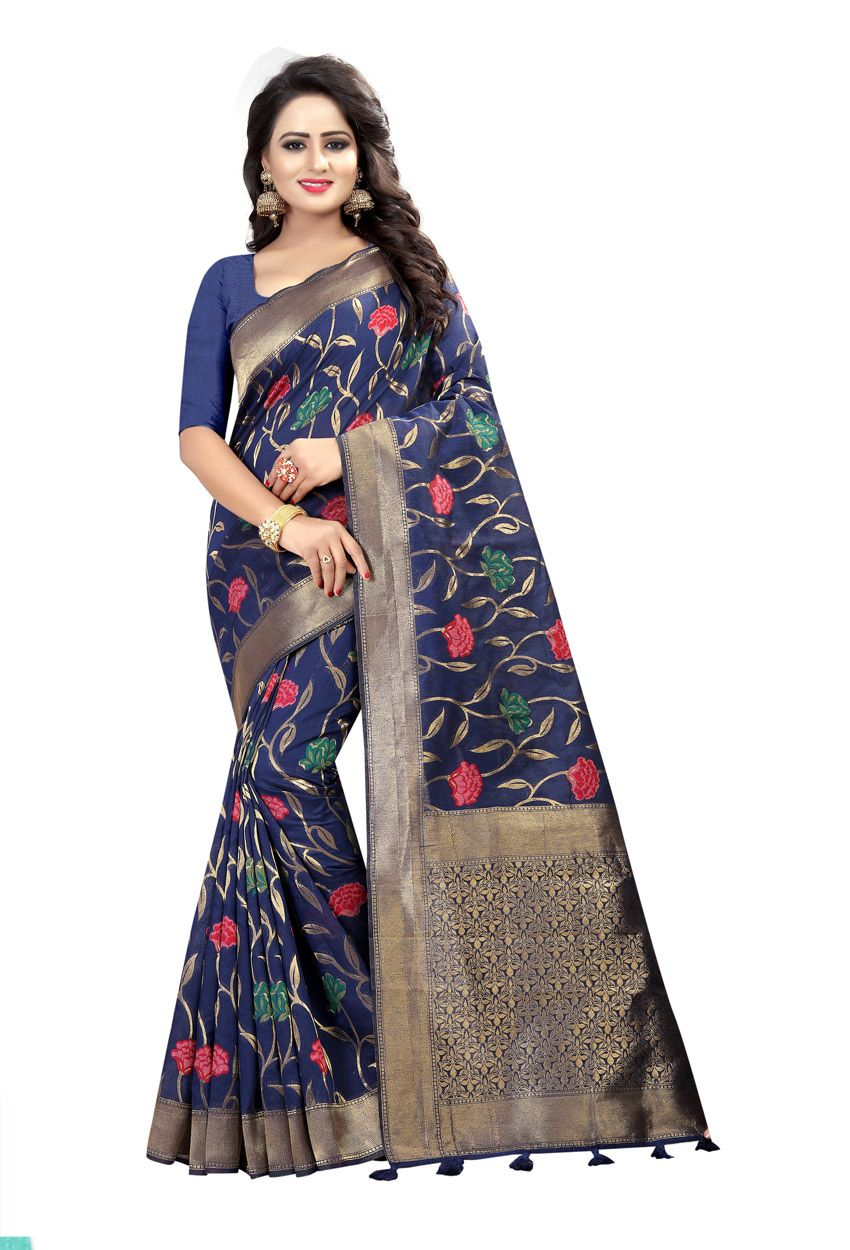 c2577bf7fd8 Dark Blue Linen Printed Party Wear Sari  indianweddingsaree   indianweddingsareesonline  onlineindianweddingsarees  dress   onlineindiandress  sale nikvik ...