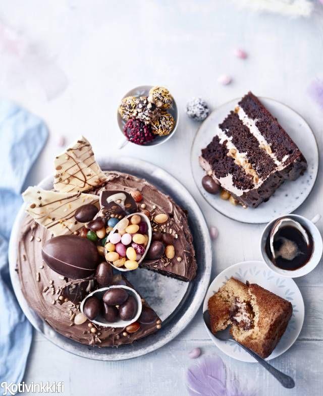 Mielettömän ihana pääsiäiskakku – suklaata, passiohedelmää ja pääsiäismunia | Kotivinkki