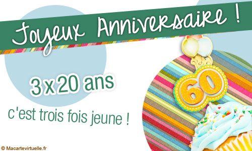 Carte Anniversaire 60 Ans Carte Anniversaire Pinterest