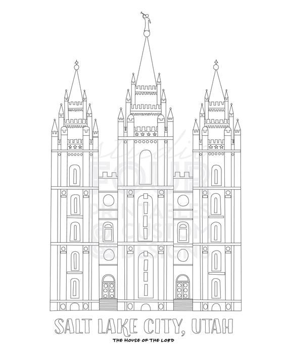 Printable Salt Lake City Lds Temple Coloring Page Pdf Digital