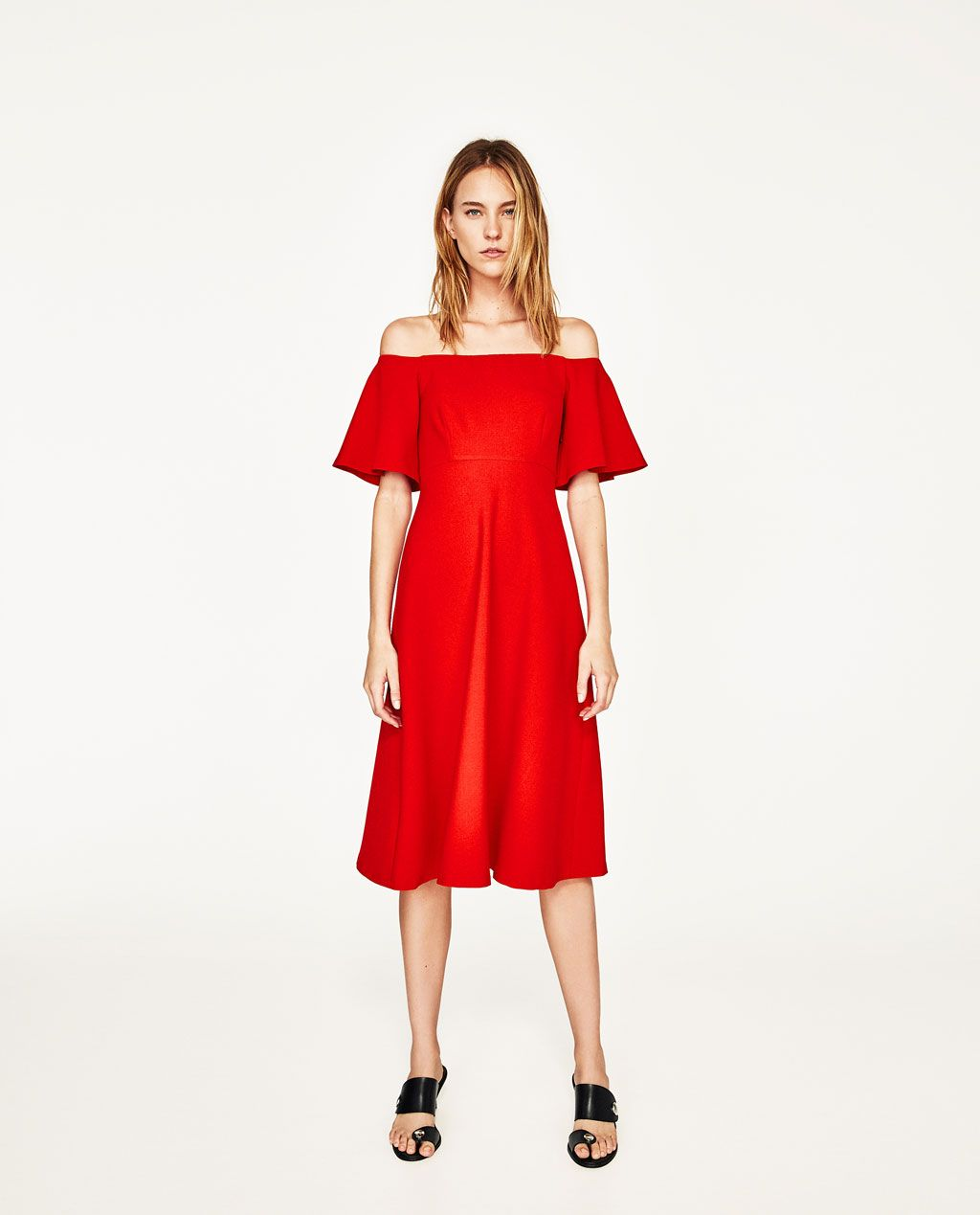Vestido Hombro Descubierto Shoulder Dress Shoulder And Zara