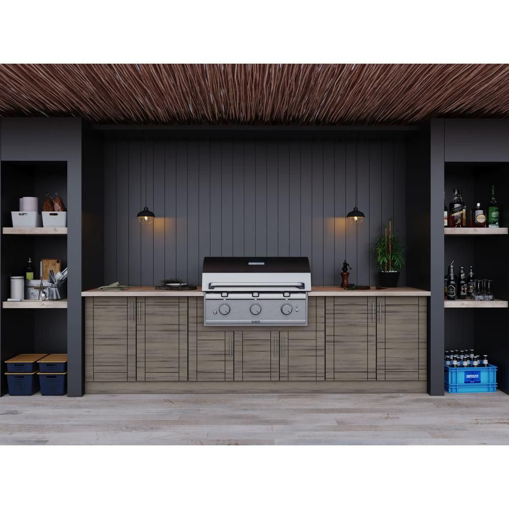Weatherstrong Sanibel Weatherwood 17 Piece 121 25 In X 34 5 In X 28 In Outdoor Kitchen Cabinet Set Wse120wm Swd The Home Depot In 2020 Outdoor Kitchen Cabinets Kitchen Set Cabinet Semi Custom Cabinets