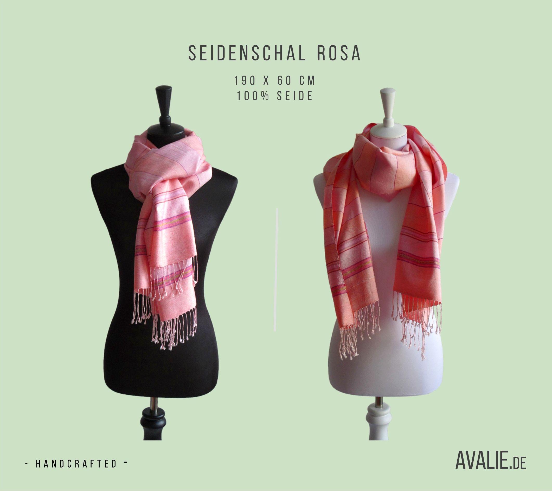 Seidenschal Rosa Handgefertigt aus 100 Seide Größe