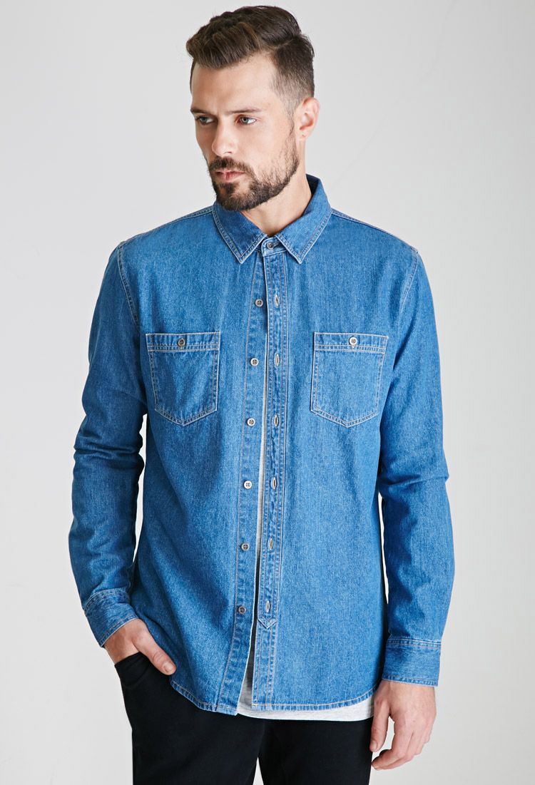 Denim Button-Down Shirt | FOREVER21 - 2000080528 | Clothing For ...