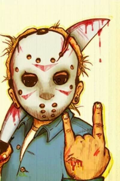 Rock on Jason, rock on hand sign, Jason with mask and bloody knife machete,