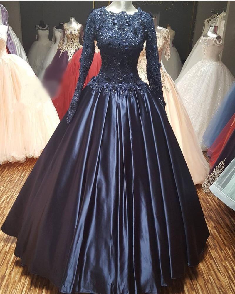 Navy Blue Lace Long Sleeves Wedding Dresses Ball Gowns In 2021 Blue Ball Gowns Ball Gowns Floral Prom Dresses [ 1000 x 800 Pixel ]