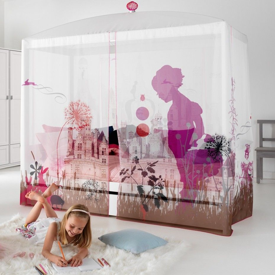 Wonderful Children's Bedroom Design: The Truly Your Children's Roommate : Soft White Walls One Big Bed Made From Wooden Surrounded By White Curtain One Big White Cupboard With Two Doors One White Soft Flurry Carpet Some Pillows With Sweet And Mild Colour