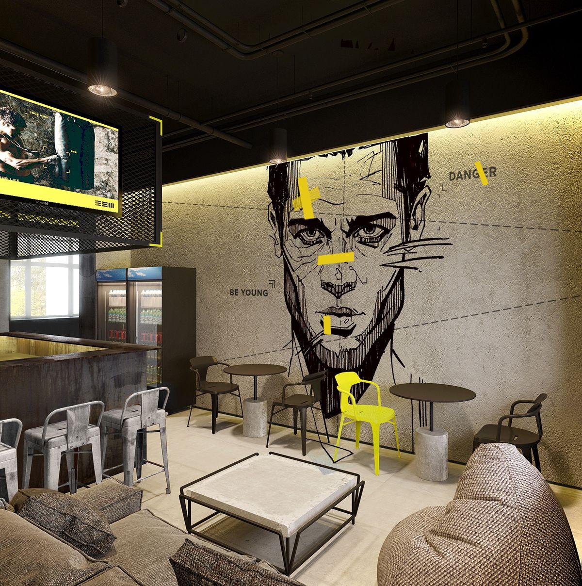 Gym Commercial Bar Design: Mural #1 On Behance