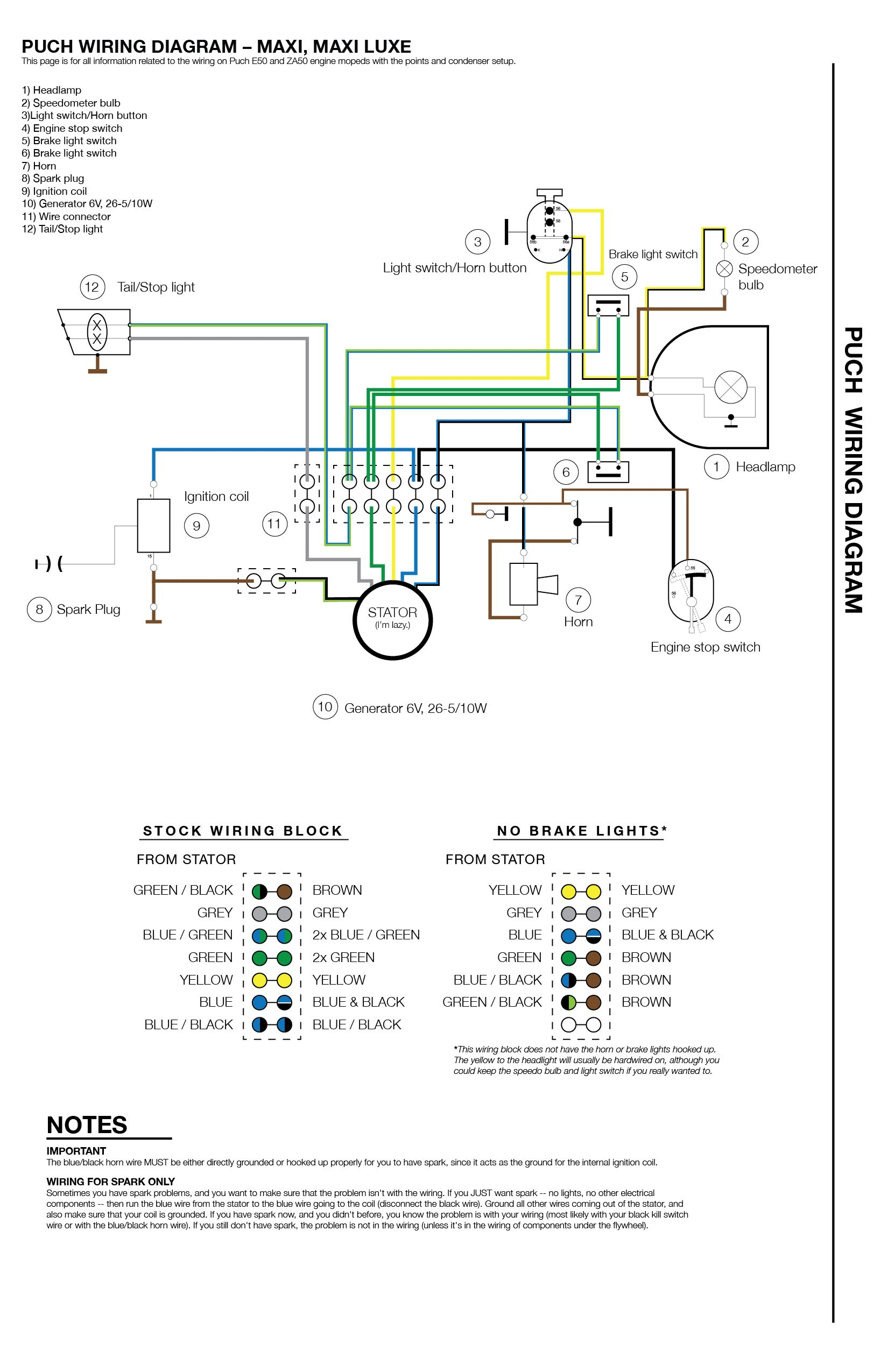 Pit Bike Wiring Diagram Kick Start : wiring, diagram, start, Wiring, MopedWiki, Motorcycle, Wiring,, Puch,, Electrical, Diagram