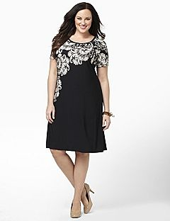 Silky Dress Has A Flourishing Print That Falls Gently Down The Side For Slimming Effect