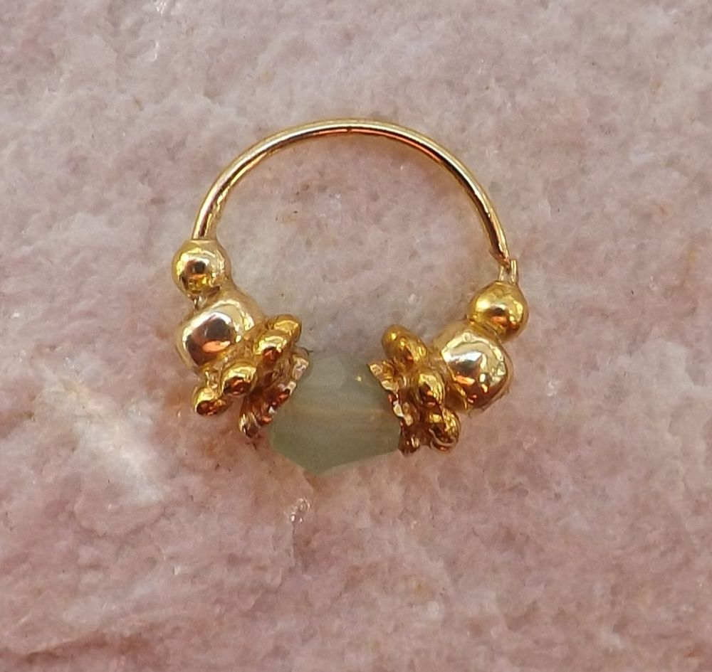 Piercing rings, Nose Jewelry, Septum, Nostril, 22 gauge, Beautiful Swarovski Crystal and golden beads
