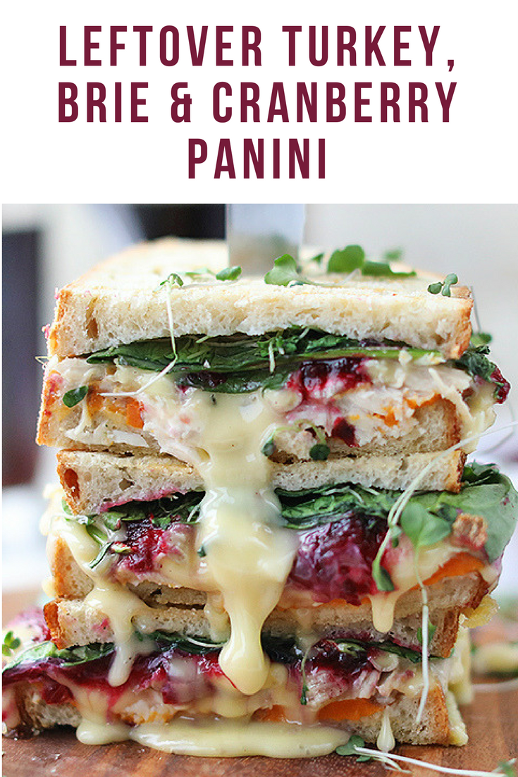 Leftover Thanksgiving Turkey, Brie and Cranberry Panini #thanksgivingrecipes