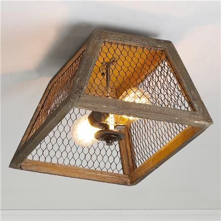 Chicken Wire Square Shade Ceiling Light Ceiling Lights Diy Rustic Ceiling Lights Ceiling Light Shades