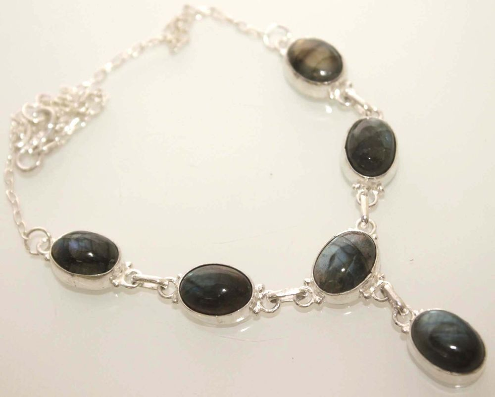 HIGH FASHION LABRADORITE DELICATE FANCY STERLING SILVER JEWELRY FASHION NECKLACE