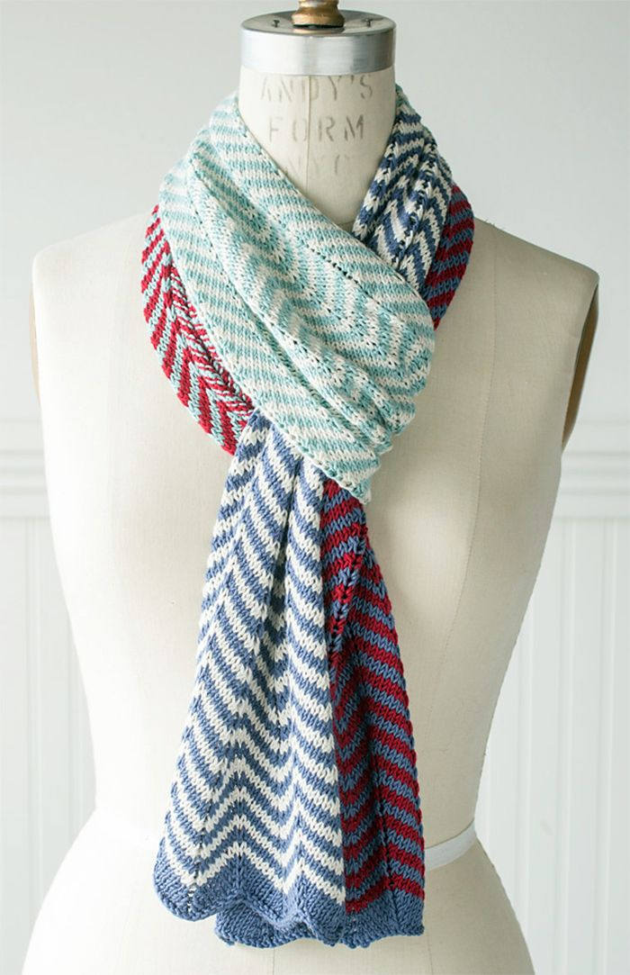 Free Knitting Pattern for 2 Row Repeat Easy Striped Chevron Scarf ...
