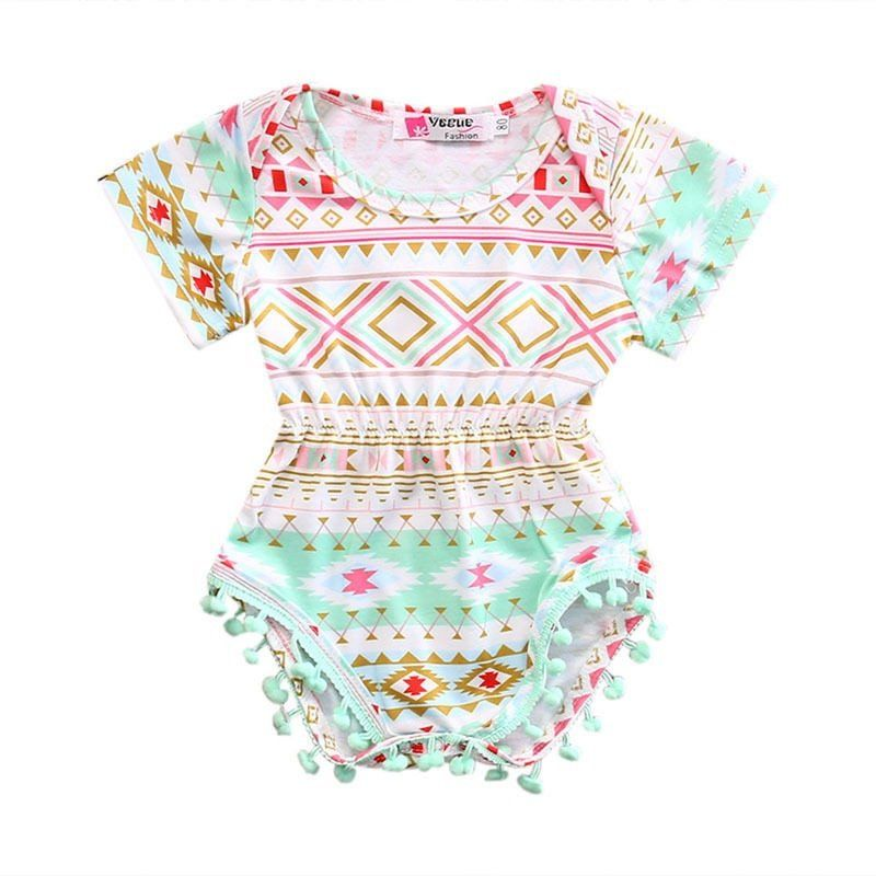 0b30638fe297 This sweet tribal pom pom romper is the perfect outfit for this Spring and  Summer season. Length Bust 2 Age Advice 36 CM 23 CM 0-6 Months 38 CM 24 CM  6-12 ...