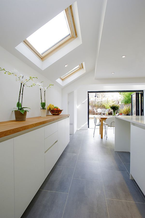 Genial Kitchen Extension, Victorian Terraced House, Skylights And Bifold Doors To  Garden.