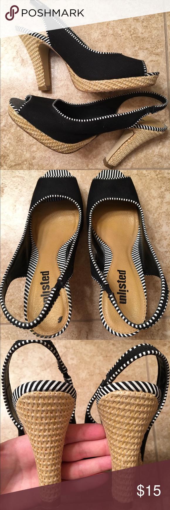 Super cute open toe heels Black w white stripe heels. Minimal wear. enlisted Shoes Heels