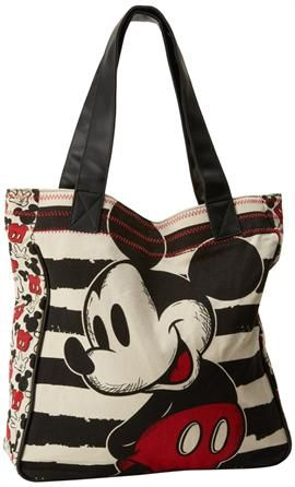 Plus Size Disney Sketched Mickey Mouse Tote Bag Black Stripe Canvas Per Handbag Purse Image