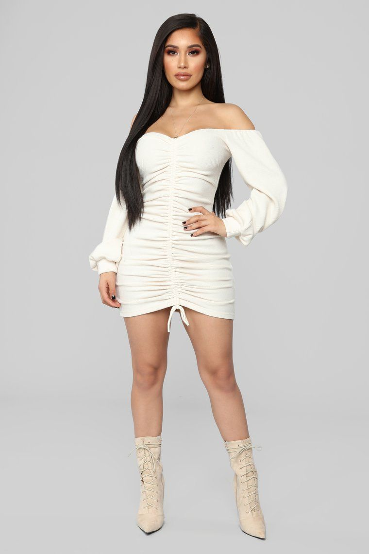 Baby I'm In Love Ruched Dress Cream Fashion, Ruched