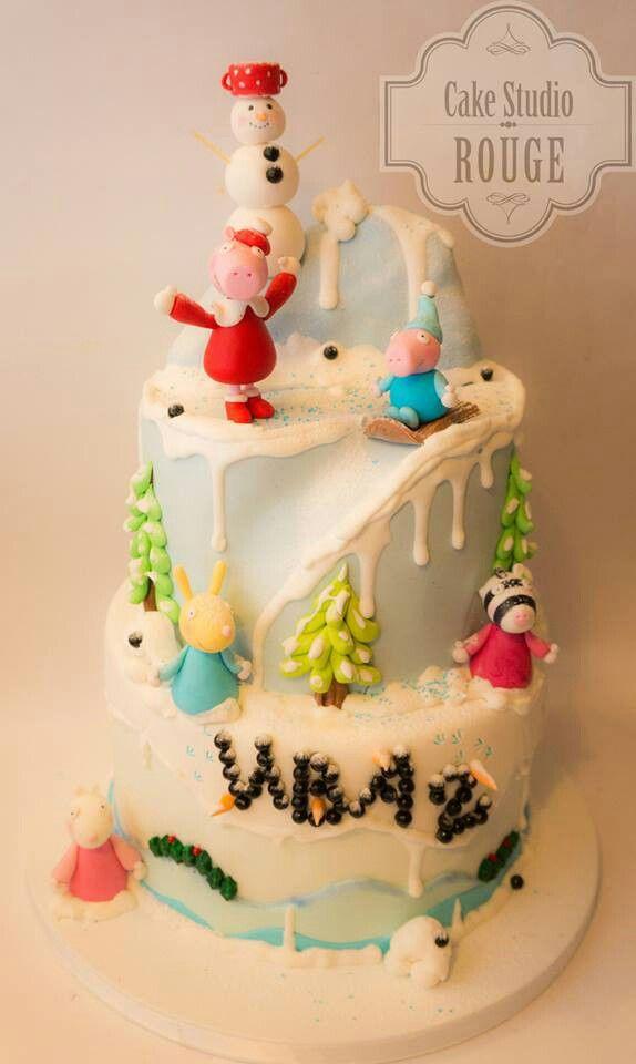 Peppa Pig Snow Cake Party Winter Birthday Parties Fun