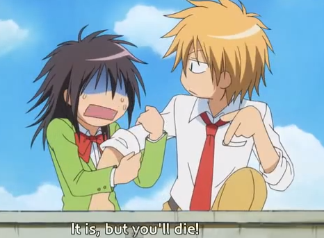 "Usui: ""Shortest route."" Misaki: ""It is, but you'll die!"""