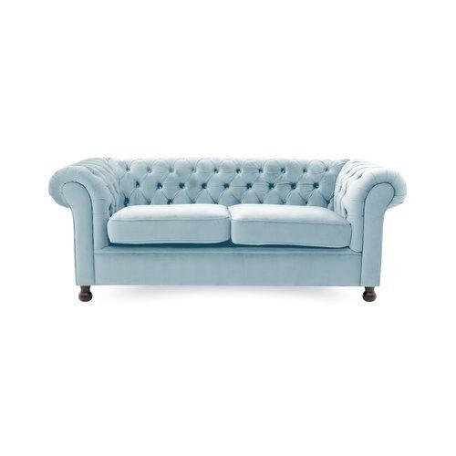 Higby 3 Seater Chesterfield Sofa Charlton Home Upholstery Colour Light Blue Light Blue Sofa Blue Chesterfield Sofa Sofa