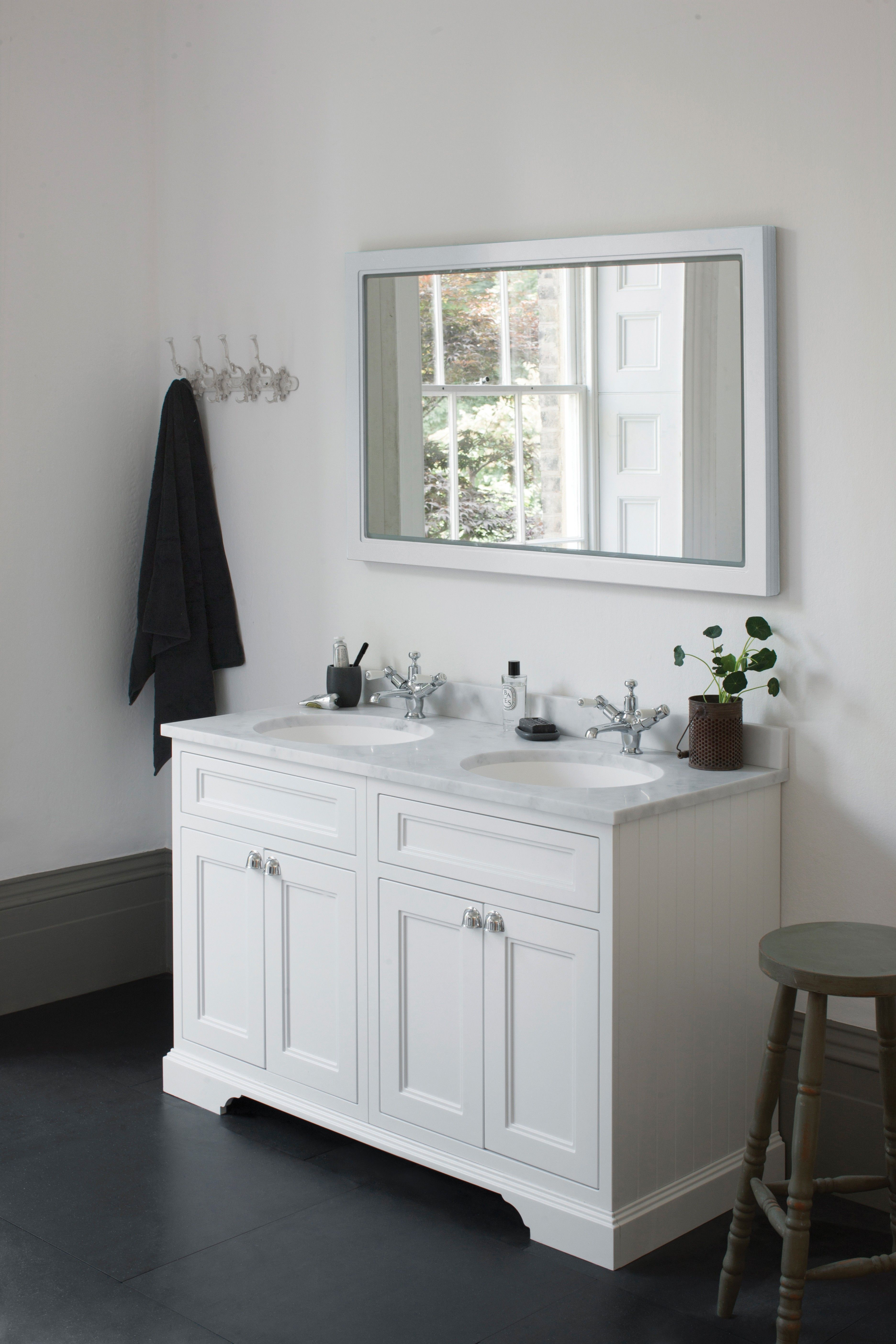 Doppel Waschtisch Kommode Burlington 130 Cm Mit Türen, Minerva Marmor