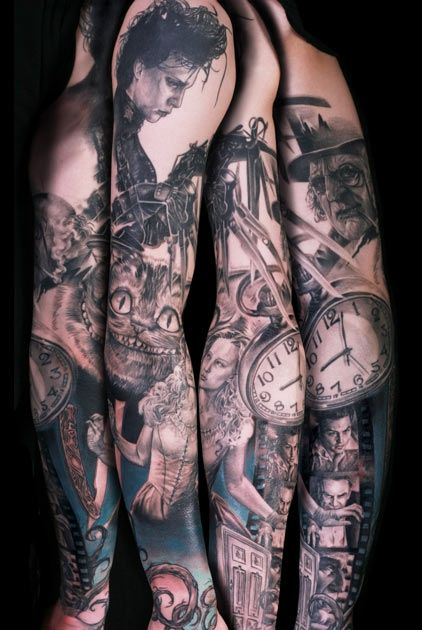 Movies Sleeve Tattoo By Niki Norberg Post 7512 Movie Tattoos Movie Tattoo Tim Burton Tattoo