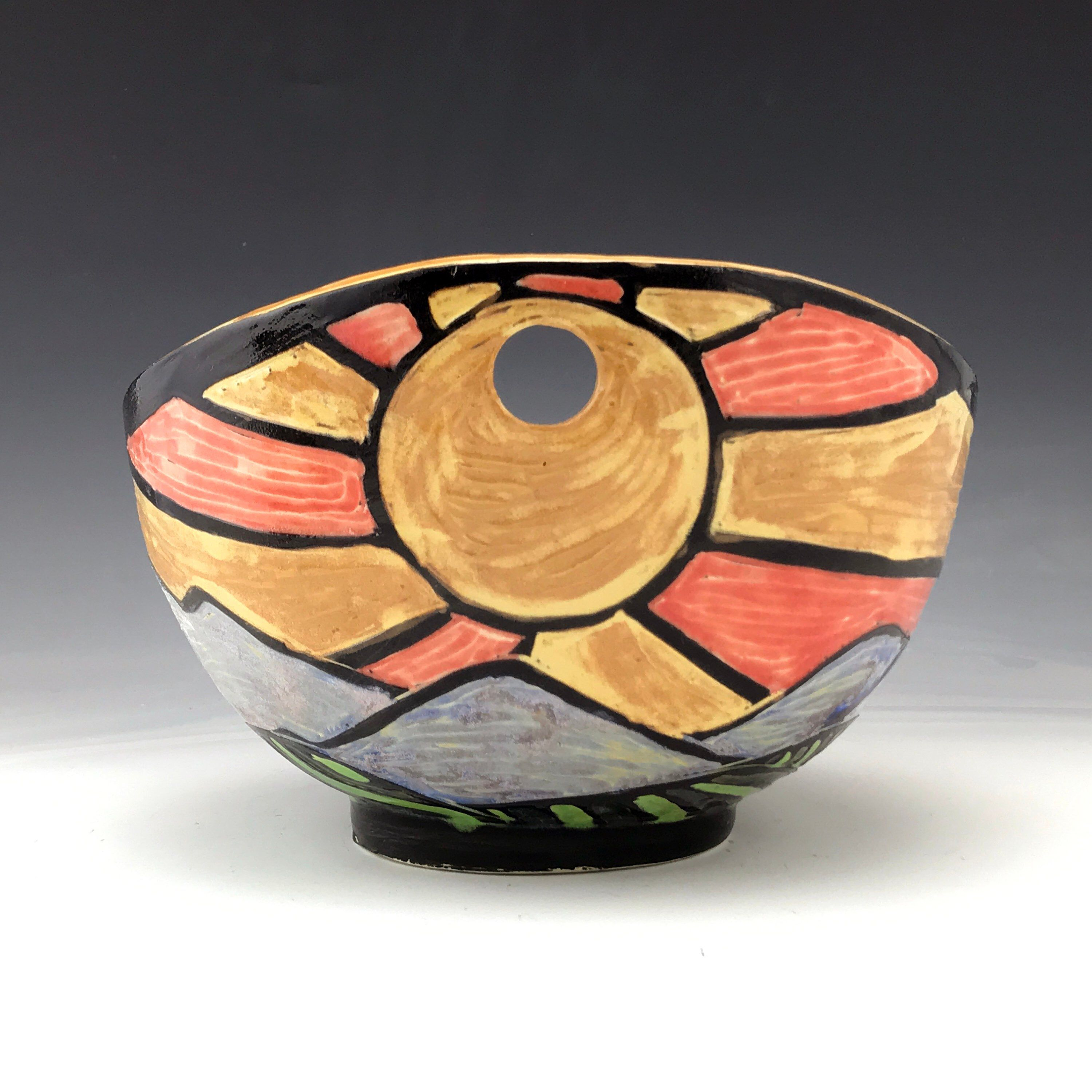 Handmade Sgraffito Ceramic Sunrise Serving Bowl In Gold With Images Handmade Pottery Colorful Ceramics Handmade