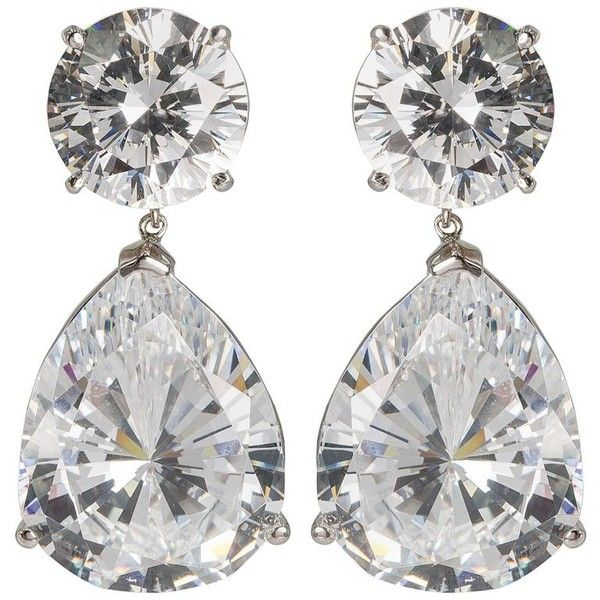 Preowned Magnificent Costume Jewelry Large Cubic Zirconia Faux Diamond 1 300 Liked On Polyvore Featuring Earrings Chandelier Earr