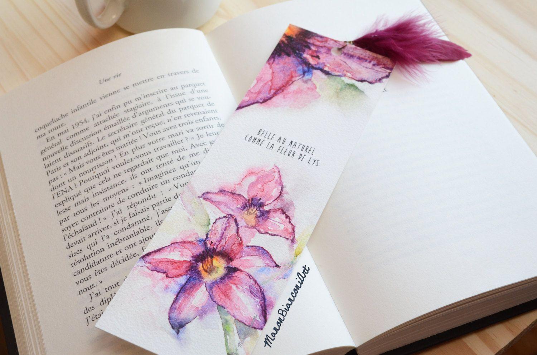 Marque Pages Fleur De Lys Magenta Poupre Cadeau Noel Femme