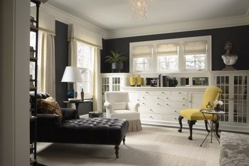 Not Sure What Room This Is But It 39 S Lovely The Mix Of Black Walls And White Built In Cabinets