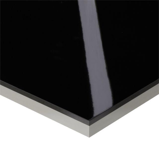 Plan De Travail D Angle Stratifie Effet Verre Noir 97 7 X 65 Cm Ep