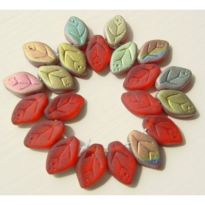 Christmas Red Matte Leaf Czech Pressed Glass Beads w Vitral Fire by msbijouxbeads on Etsy