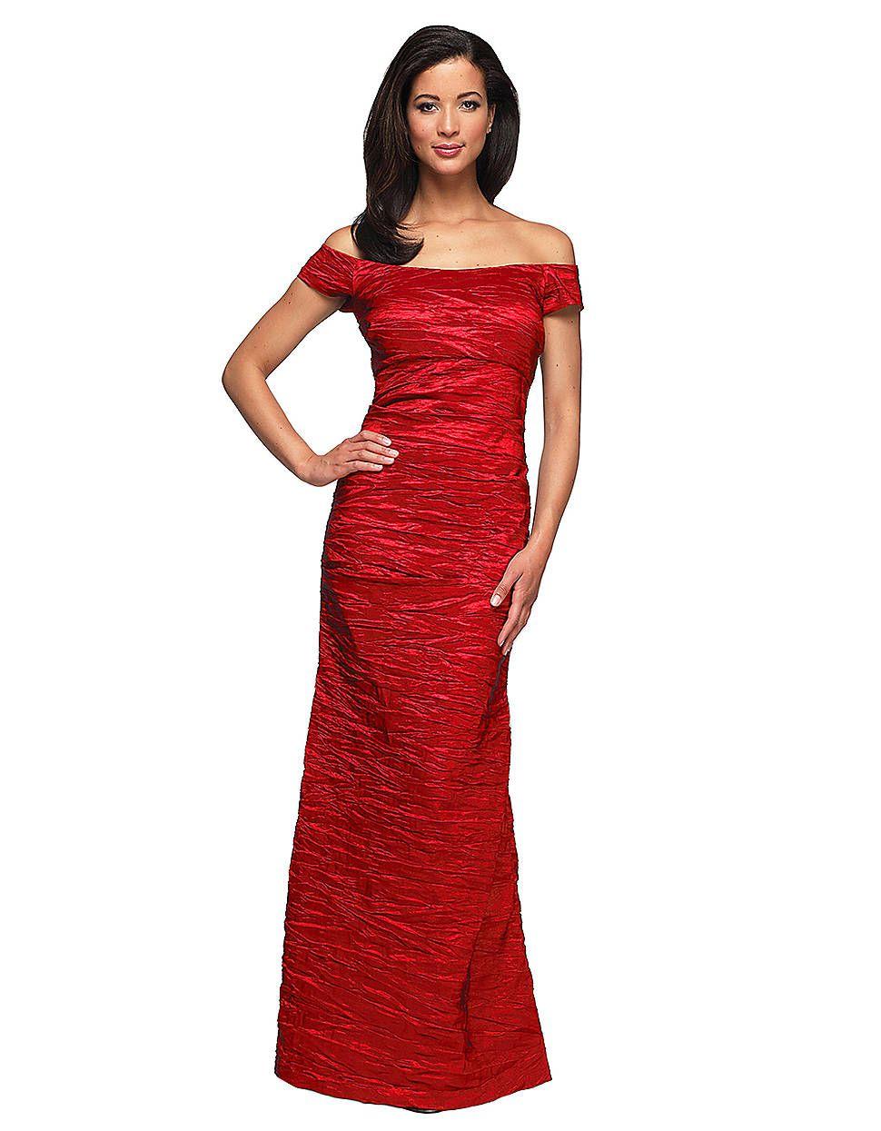 Women\'s Red Long Off The Shoulder Stretch Taffeta Dress   Fashion ...
