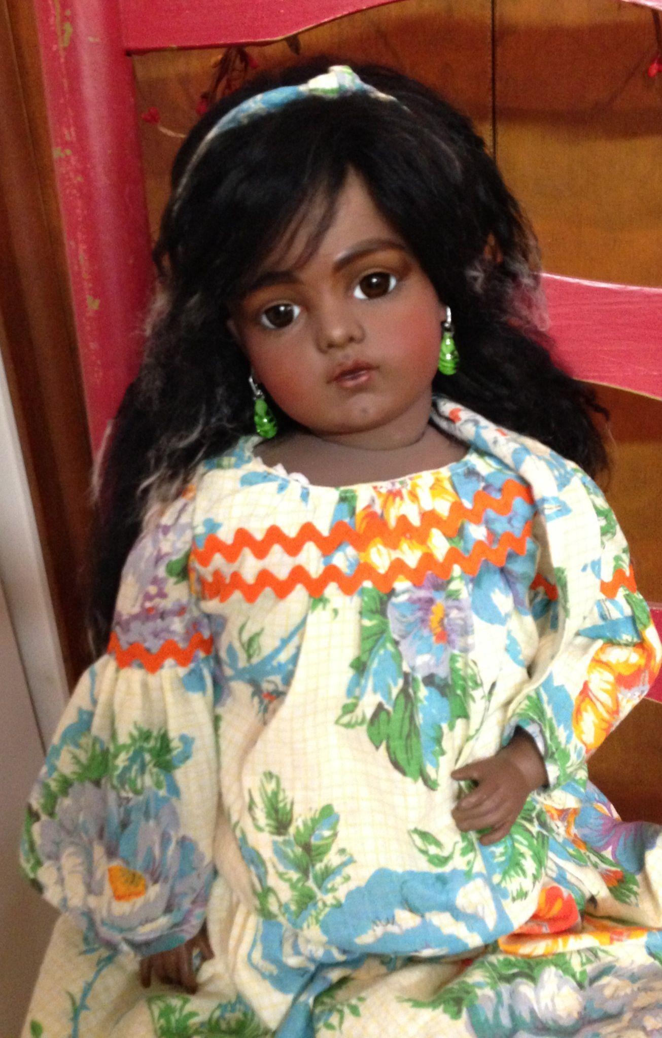 Make do black Bru replica doll