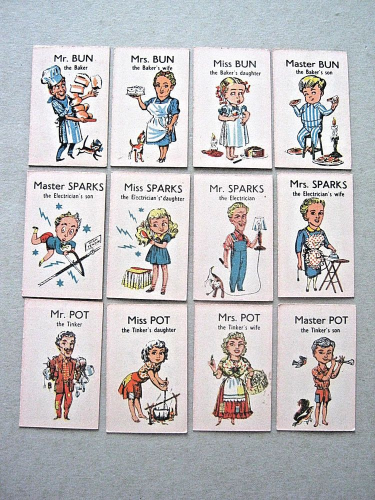 GIBBS TOOTHPASTE HAPPY FAMILIES VINTAGE PLAYING CARD GAME SET OF 36 CARDS 1940s Happy Families Card Game, Family Card Games, Set Card Game, Playing Card Games, Vintage Playing Cards, Happy Family, World War Two, 1940s, Nostalgia