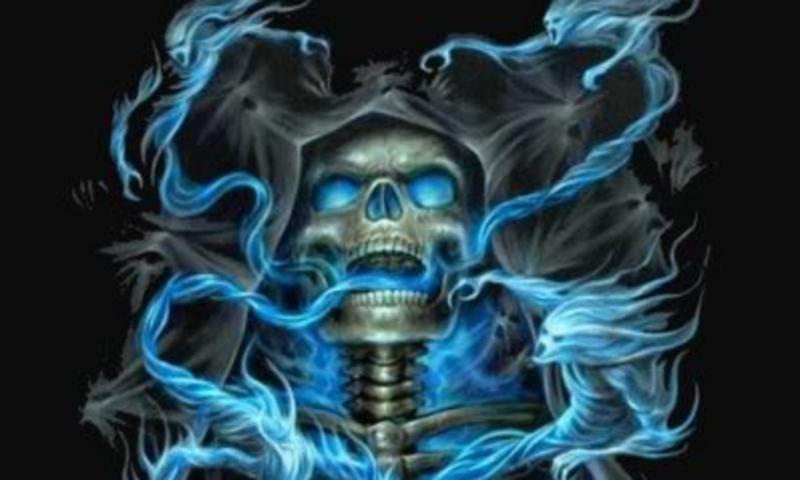 Flaming Skull Backgrounds Badass Skulls Skull Wallpaper Blue Skulls
