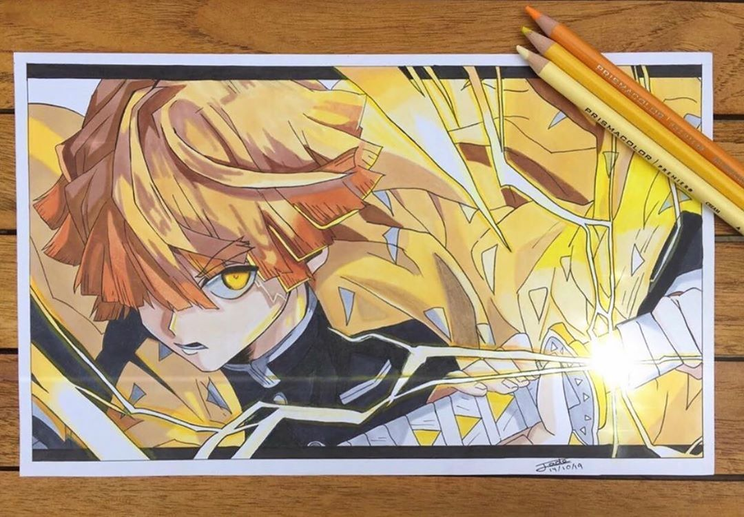 Zenitsu  Amazing work, Featured artist : @jade.drawing_  ... Leave a follow and ... #anidrugfeature #anime #animeart #animeartfeature_ #animeartist #animedraw #animefeatureworld