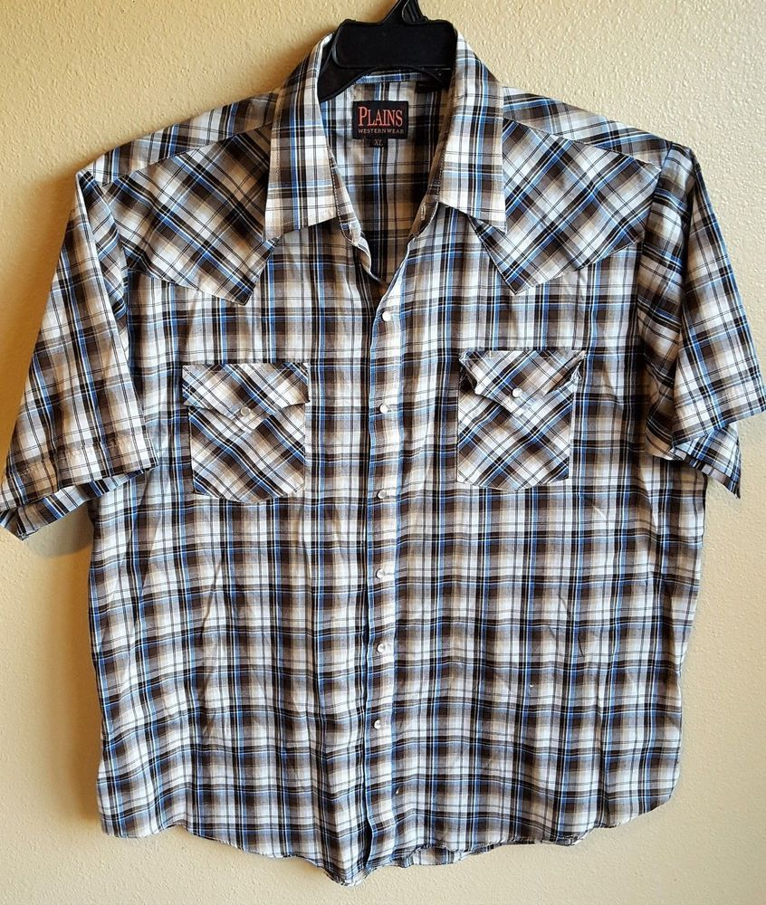 Blue flannel outfits for guys  Plains Western Wear Brown White Blue Plaid Pearl snap Shirt Size XL