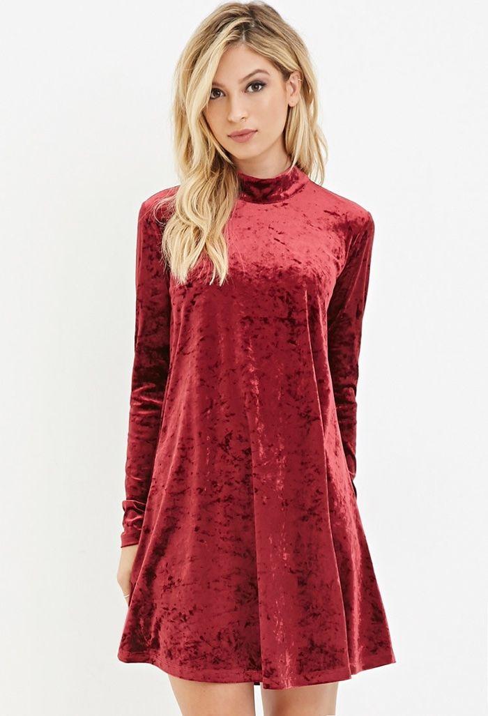 dd25b31ce45f Forever 21 Crushed Velvet Long Sleeve Dress in Red available for  19.9