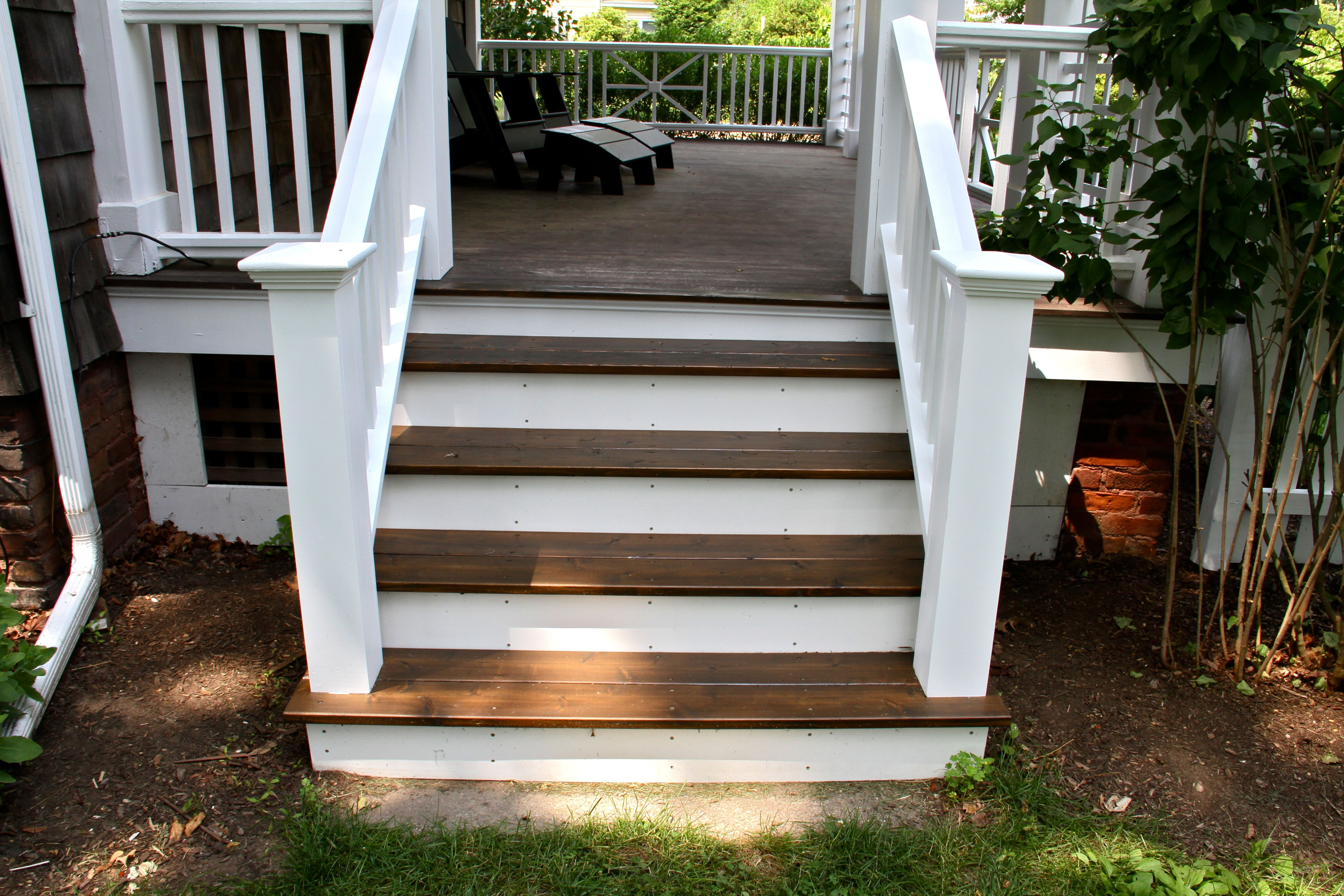 Ordinaire AFTER: The Porch Stairs, Railings Painted To Match The Rest Of The Trim And  Porch Railings; Treads Re Stained With Cabot Exterior Oil Based Stain In  Burnt ...