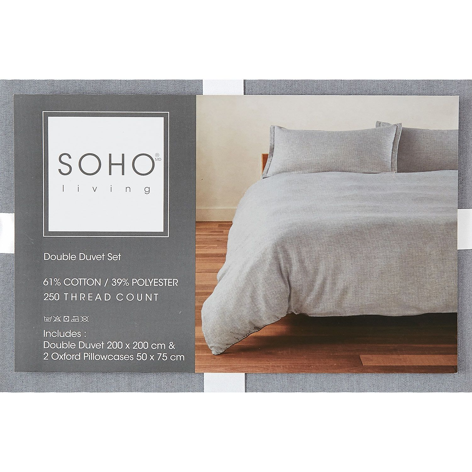 Soho Living Double Grey Duvet Set 250tc Tk Maxx Grey Duvet