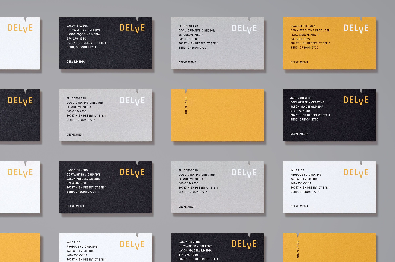 Delve Visual Identity System Cards Visual Identity Identity