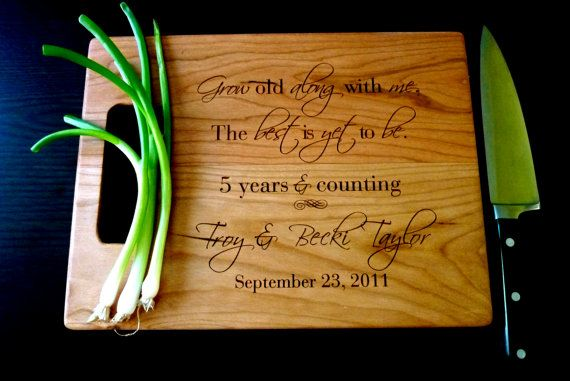Traditional 5 Year Wedding Anniversary Gift Wood Personalized