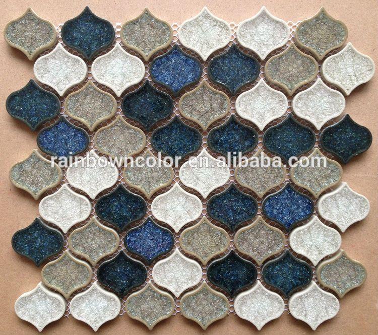 Lantern Shape Ceramic Mosaic Tile With Ice Crackle Pattern