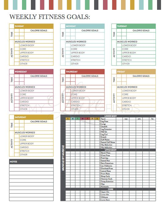 Weekly Fitness Goals Workout Checklist Printable Pdf | Workout