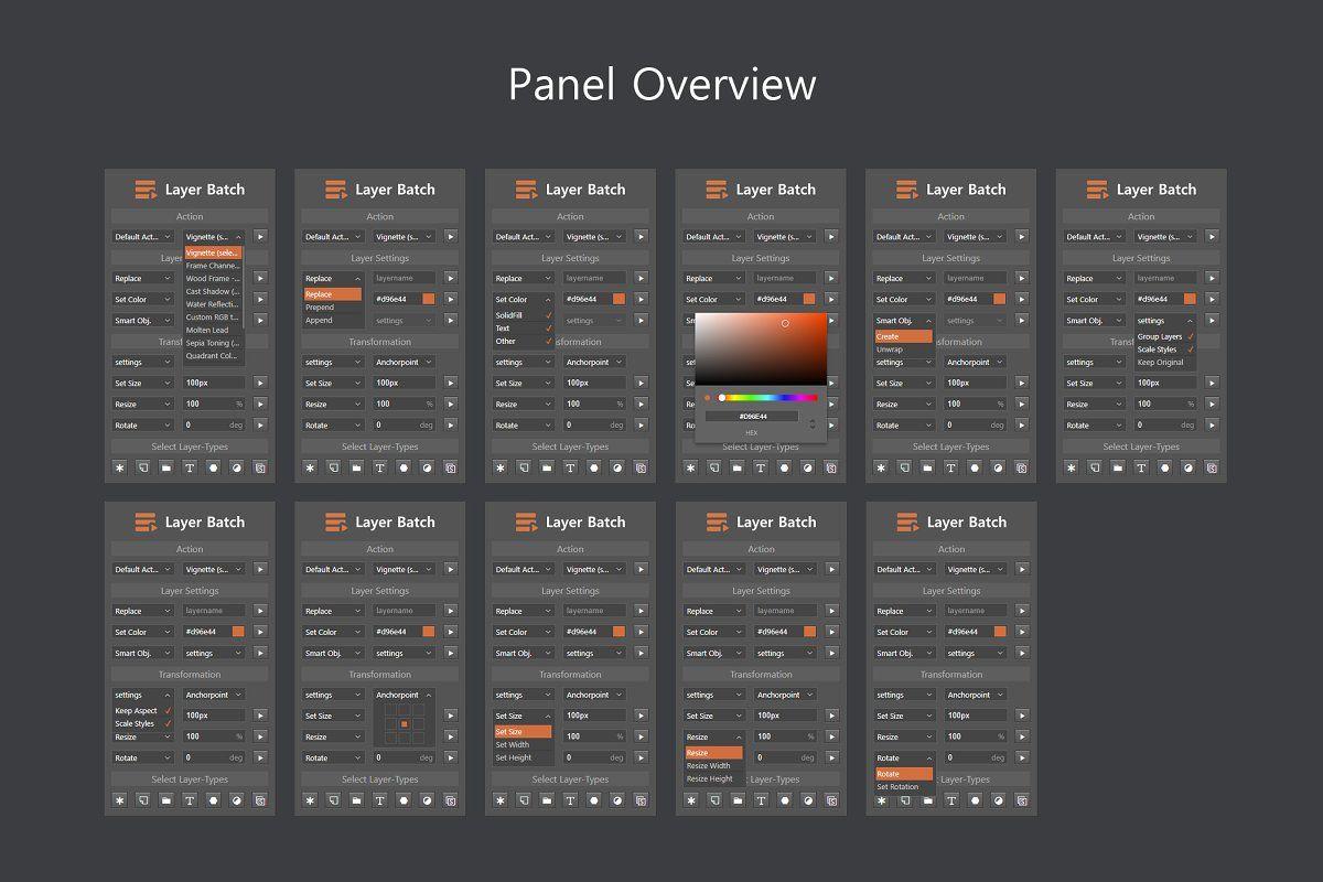 Layer Batch Processing Kit Batch Processing Photoshop Plugins Layers