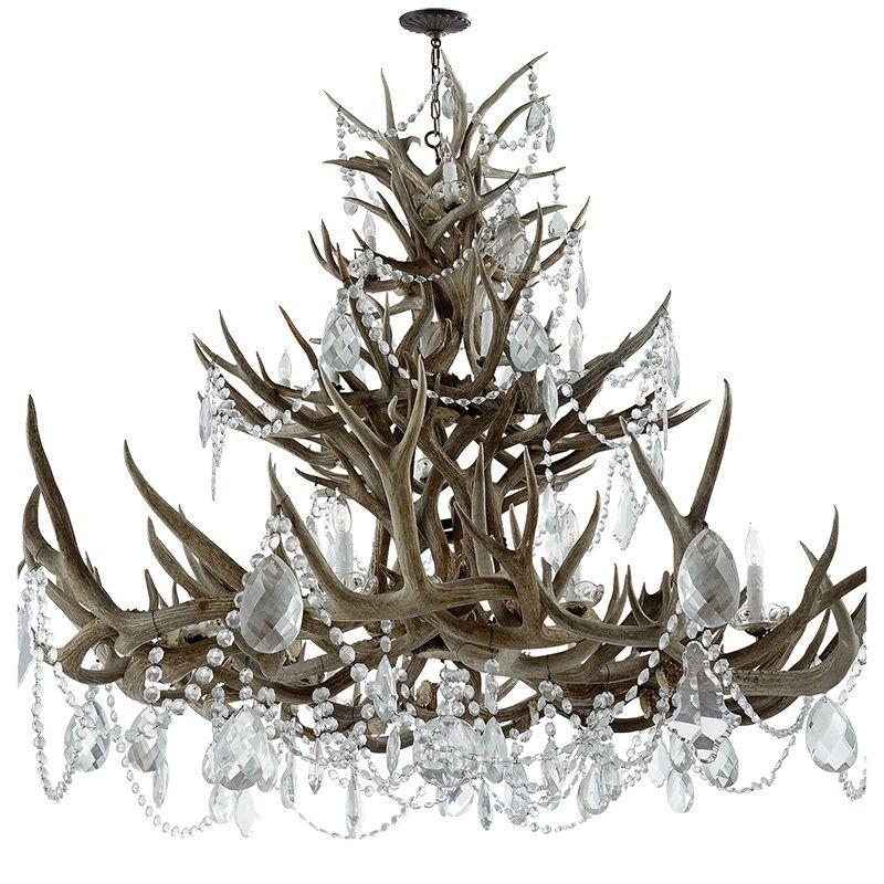 Limited Production Design Ralph Lauren Grand Crystal Embellish Antler Chandelier Dia Custom Chandelier Luxury
